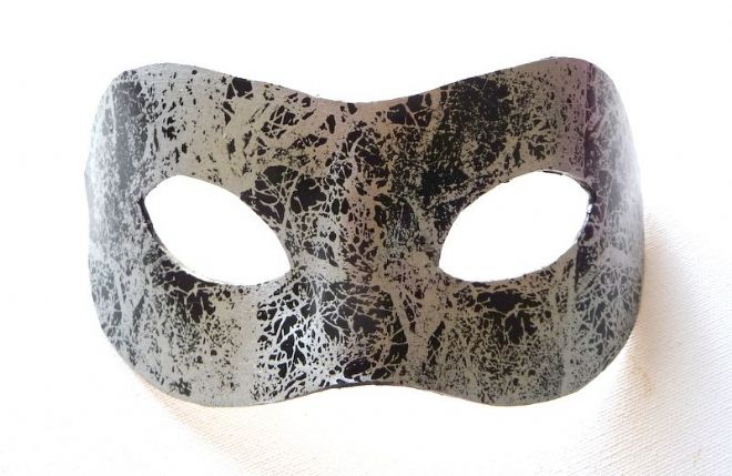 Genuine Handmade Leather Black & Silver Mask (1b)